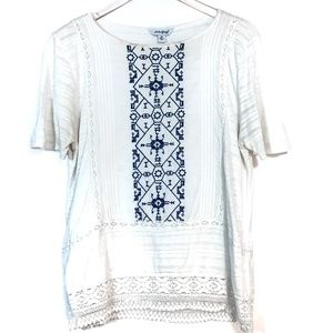 Lucky Brand Embroidered Tribal Blouse